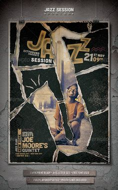 Jazz Flyer / Poster (5) by punedesign FeaturesWell organized and named layers 2 PSD Files / A4