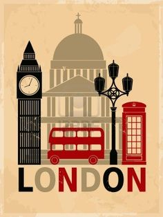 Retro style poster with London symbols and landmarks  Stock Photo - 16915025