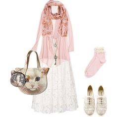 Mori with pastel pink by shortcuttothestars on Polyvore featuring polyvore fashion style Calypso St. Barth Ghost Topshop GUESS Loro Piana