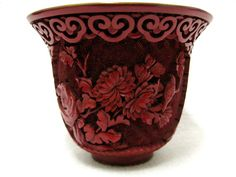 ANTIQUE CHINA CHINESE CINNABAR LACQUER ENAMEL RED BOWLS CARVED FLOWERS AND BIRDS
