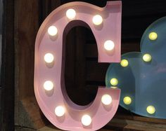 Vintage Metal Fairground Marquee Light Up Letter C Various Colours Battery Operated