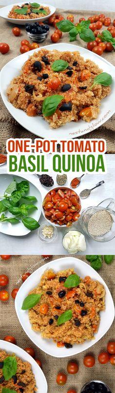 One-pot Tomato Basil Quinoa Recipe - gluten, grain and dairy free