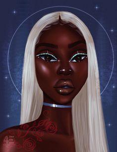 Cherish me Mini Art Print by foreverestherr Black Love Art, Black Girl Art, Black Girl Magic, Art Girl, Black Art Painting, Black Artwork, Drawings Of Black Girls, Black Girl Cartoon, Black Art Pictures
