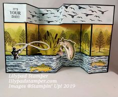 Stampin Up Best Catch Z Cards, Fun Fold Cards, Folded Cards, Stampin Up Cards, Cool Cards, Cards Diy, Greeting Cards, Masculine Birthday Cards, Birthday Cards For Men