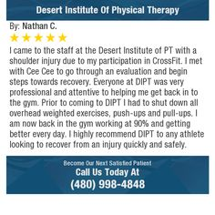 I came to the staff at the Desert Institute of PT with a shoulder injury due to my...