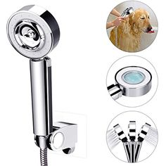 Pet Shower Head, Dog Handheld Shower Sprayer Anti-slip High Pressure Showerhead w/Adjustable Bracket, Pet Bathing Massage Shower Attachment Pet Comb Tools Washing-Bathroom Sprayer for Dog Cat Horse * Read more at the image link. (This is an affiliate link)