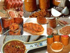 Zacusca....ce buna e calda...imi aminteste de copilarie.romanian dish. Romanian Food, Sausage, Dishes, Meat, Sausages, Tablewares, Dish, Signs, Dinnerware