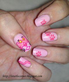 Pantera rosa Creative Nail Designs, Cute Nail Designs, Creative Nails, Cute Nails, Pretty Nails, Cartoon Nail Designs, Mary Janes, Nail Art Pictures, Nails Only