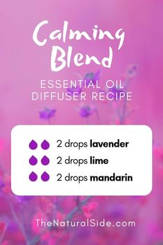 Calming Blend 2 drops lavender + 2 drops lime + 2 drops mandarin New to Essential Oils? Searching for Simple Essential Oil Combinations for Diffuser? Check out these 21 Easy Essential Oil Blends and Essential Oil Recipes Perfect for Beginners. Calming Essential Oils, Essential Oils For Headaches, Essential Oil Diffuser Blends, Calming Oils, Essential Oil Combinations, Oil For Headache, Cedarwood Oil, Diffuser Recipes, Aromatherapy Oils