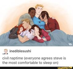 I love how everyone's position in relation to Steve is also symbolic of their relationship with him. I am an advid Stucky shipper so I see Bucky curling into Steve's lap. I see Sam, Steve's best friend using Steve as a shoulder to lie on. Wanda is across Steve's lap like a young child would with a parent. Clint and Natasha are cuddling with each other but also Wanda is leaning on Clint like another father figure.
