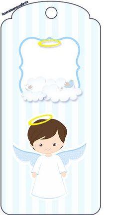 Tag Agradecimento Batizado Azul Claro