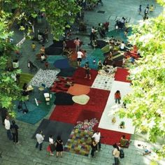 25 years of nanimarquina: Rugs in Plaça de la Virreina  by Nanimarquina