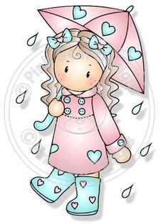 Digital Digi Chloe in the Rain Stamp by PinkGemDesigns on Etsy