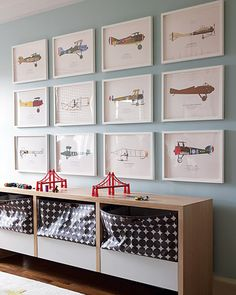 Kids room idea. Vintage Airplanes pictured, but  can be  replaced  with retro pics of cars