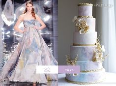 WedLuxe Magazine  Left: Strapless Elie Saab Spring 2010 gown with a sweetheart neckline.  Right: Cake by The Caketress