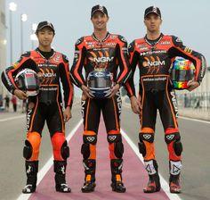 NGM Forward Racing Team 2012 - from left to right : Yuki Takahashi , Colin Edwards, Alex De Angelis