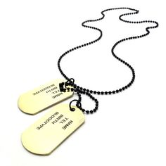 * Penny Deals * - TEMEGO Jewelry Mens Alloy Army Style 2pcs Dog Tag Pendant Mens Necklace Chain, Black Golden ** Learn more by visiting the image link.