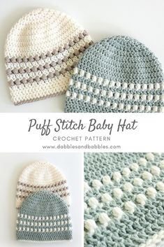 Learn how to crochet a baby hat with this puff stitch pattern. – crochet pattern Learn how to crochet a baby hat with this puff stitch pattern. – crochet pattern Pin: 735 x 1102 Easy Crochet Baby Hat, Crochet Simple, Crochet Baby Hat Patterns, Dishcloth Knitting Patterns, Crochet Baby Clothes, Double Crochet, Baby Knitting, Knit Baby Hats, Crocheted Baby Hats