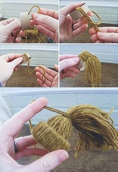 Minitoppluvor är superenkla att göra av garn. Det ser precis ut som om husets alla pysslingar hängt sina mössor i granen!