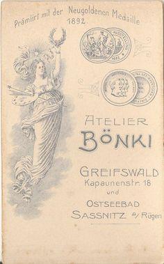CDV photo Feine Dame - Greifswald / Sassnitz 1890er | eBay | Atelier Bönki, Kapaunenstr. 18, Greifswald, Neugoldene Medaille 1892