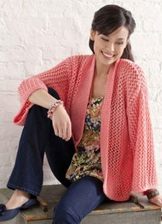 The Bright and Breezy Kimono is the perfect garment for spring. Find the free knitting pattern at AllFreeKnitting.com.