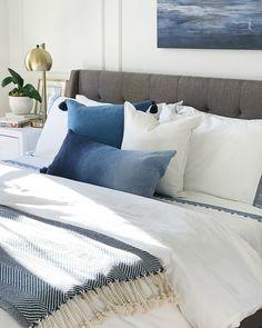 Calming blue and white master bedroom #bedroom #bedroomdecor #bedroominspo #bedroomideas