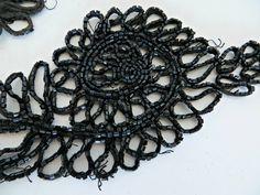 Vintage Embellishment for Women's Clothing Seed Beads Bugle Beads Black by FabulousFunFashion on Etsy