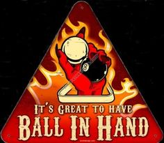 Pool Hall Signs | Ball in Hand Triangular Shaped Metal Sign http://biker-wear.biker-crossroads.com/Ball-in-Hand-Metal-Sign.html