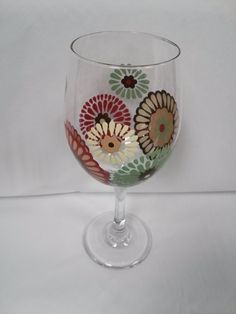Flower Hand Painted Wine Glass Red Turquoise Cream Brown Tan