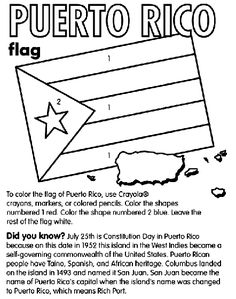 Flag Of Puerto Rico Coloring Page Elementary Spanish, Teaching Spanish, Flag Coloring Pages, Free Coloring, Puerto Rican Flag, Puerto Rico History, Constitution Day, World Thinking Day, Hispanic Heritage Month