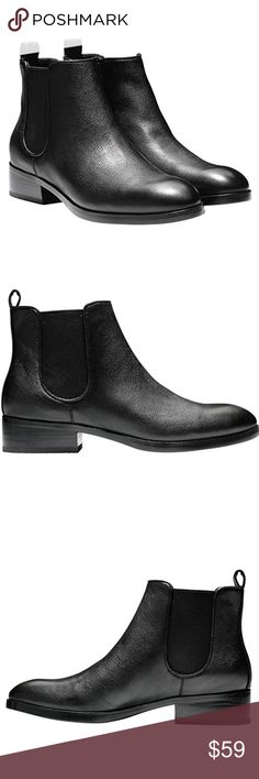 Cole Haan Landsman Leather Black Bootie Rubber Leather upper. Double side goring and back tab for easy entry. Lined in fabric. Fully padded sock lining. Full rubber outsole. Cole Haan Shoes Ankle Boots & Booties