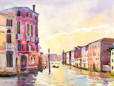Near the Grand Canal, Venice, California art by Glen Knowles. HD giclee art prints for sale at CaliforniaWatercolor.com - original California paintings, & premium giclee prints for sale