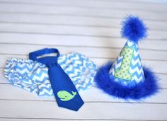 Boys Birthday Party Hat, Diaper Cover, Tie - First Birthday, Smash Cake Pics, Photo Prop - Birthday Whale in Blue White, Green Chevron and Dots