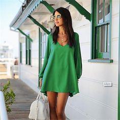 vestido del color sólido de la manera de las mujeres - EUR € 15.59
