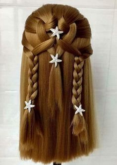 Amazing braids but without the weird starfish things. It's a beautiful enough braid that nothing so distracting. Baby Girl Hairstyles, Fancy Hairstyles, Amazing Hairstyles, Cool Braids, Amazing Braids, Natural Hair Styles, Long Hair Styles, Kids Hair Styles, Hair Creations