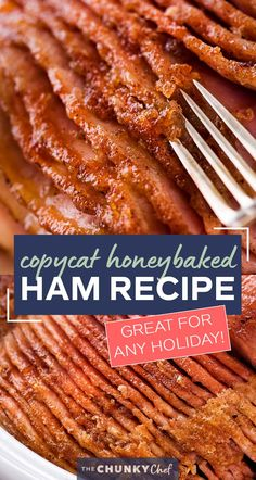 This copycat Honey Baked Ham is juicy and tender, with the most amazing crispy sweet glaze! Made with honey, sugar, and mouthwatering spices, you'll be amazed at how easy it is to make this ham at home and save a TON of money! #holiday #easter #ham #copycatrecipe #hamrecipe #dinner #honeybaked #spiralham Pork Recipes, Cooker Recipes, Crockpot Recipes, Baked Ham Recipes, Copykat Recipes, Entree Recipes, Diet Recipes, Thanksgiving Recipes, Holiday Recipes