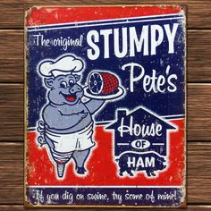 アメリカ雑貨 ブリキ看板 STUMPY Pete's 自らの肢を商品とする豚 | アメリカ雑貨のマーブルマーブル