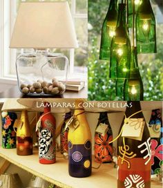 bottles repurposed as lamps Home Design Diy, Luxury Chandelier, Candle Chandelier, Glass Bottle Crafts, Glass Bottles, Bottle Lamps, Bling Bottles, Wine Bottle Design, Recycled Bottles