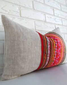 Colorful Hmong Pillow Cover Bohemian Throw by habitationBoheme