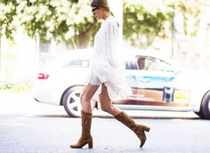 white dress + brown tall boots