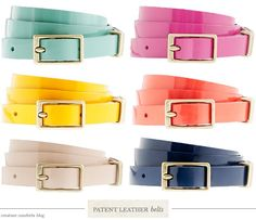 Add a pop of color with these bright patent leather belts from J.Crew.