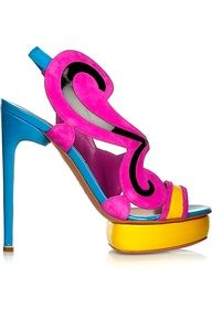 Nicholas Kirkwood - Color-block suede and patent-leather sandals Crazy Shoes, Me Too Shoes, Weird Shoes, Leather Sandals, Patent Leather, Nicholas Kirkwood Shoes, Walking In High Heels, Cinderella Shoes, Unique Shoes