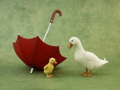 Dollhouse Miniature 1:12 Duck & Duckling by Kerri Pajutee IGMA OOAK (love this!)