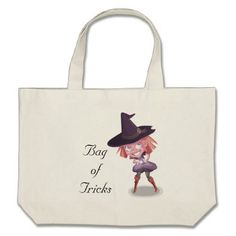 #Little Purple Witch Large Tote Bag - #Halloween #happyhalloween #festival #party #holiday