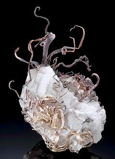 Native Wire Silver on Calcite ~ Kongsberg Silver Mining District, Svene, Flesberg, Buskerud, Norway.