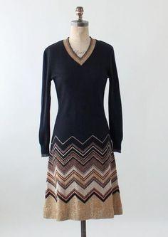 Vintage 1970s iItalian gold & black knit