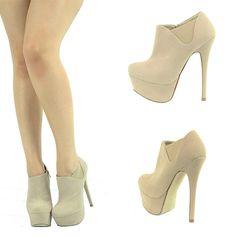 Beige Suede High Heel Platform Stiletto Womens Ankle Boot Booties Pump Shoe Sz10 | eBay