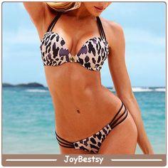 Neue Ankunft Leopard Print Plus Größe Push Up Bikini