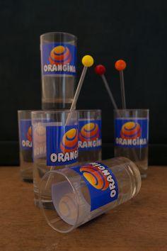 Vintage set of 6 Orangina glass. Glass Bottles, Kitchens, Mid Century, Orange, Glasses, Vintage, Flasks, Eyewear, Kitchen