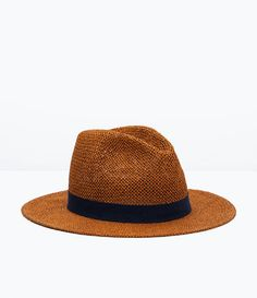 Large straw brim hat with contrasting band